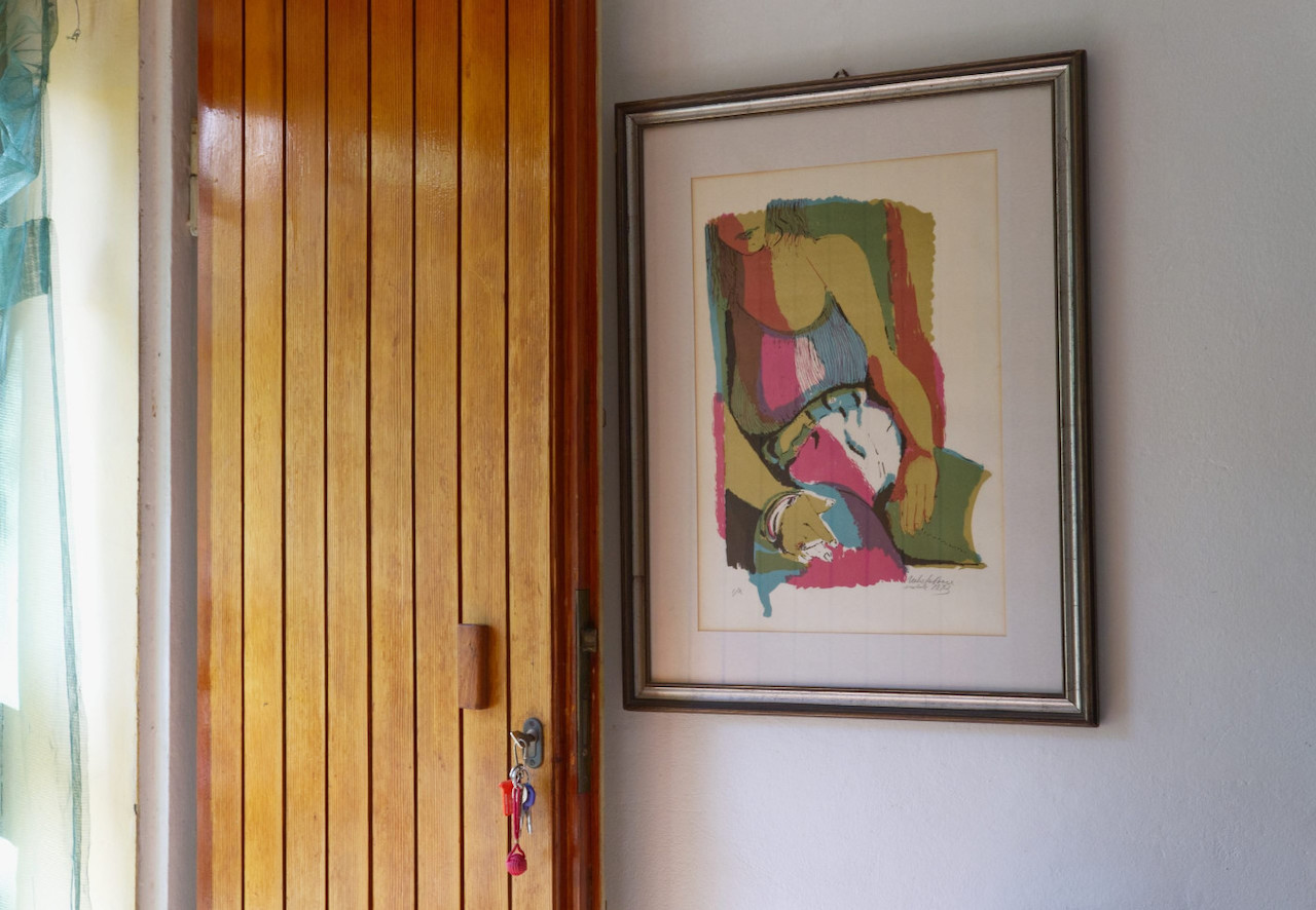 Entrance with art
