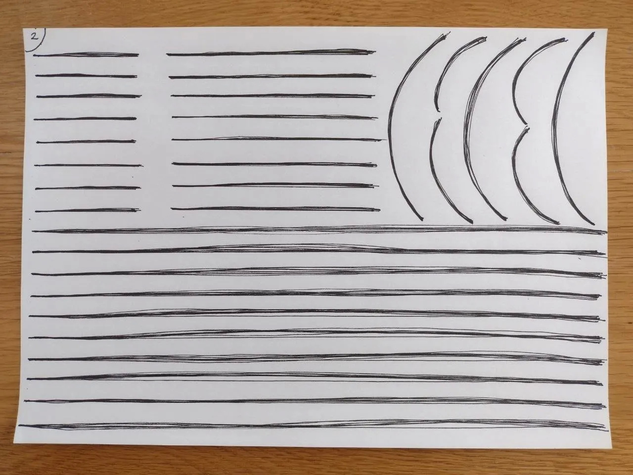The second page filled with lines and curves. I was able to start each superimposed line with more precision: I felt less anxious, and took more time to focus on my task